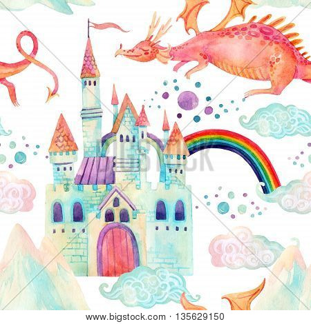 Watercolor fairy tale seamless pattern with cute dragon magic castle little princess crown mountains and fairy clouds on white background. Hand painted illustration for kids children design