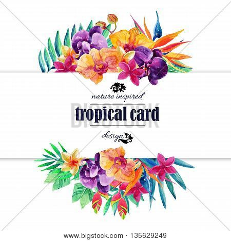 Tropical floral card in watercolor. Watercolor exotic flowers card. Orchid bloomings bird-of-paradise and tropical palm leaves card. Exotic flowers and jungle leaves. Hand painted watercolor illustration