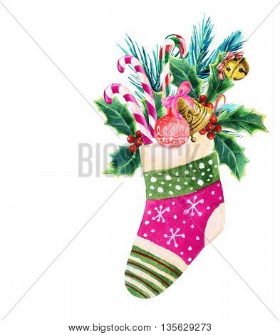 Christmas sock with presents in watercolor. Hand painted illustration for holiday design