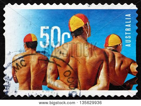 AUSTRALIA - CIRCA 2007: a stamp printed in the Australia shows Male Lifeguards Surf Life Saving Australia Centenary circa 2007