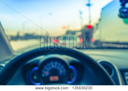 Blur Image Of Inside Car With Bokeh On Day Time For Background Usage .