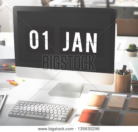 New Year Technology Date Graphic Concept