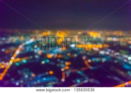 Vintage Tone Abstract Blur Image Of Abstract City Bokeh Light Background