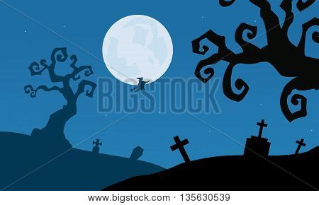 Tomb and dry tree scenery Halloween vector illustration