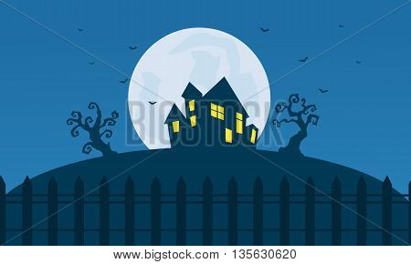 Silhouette of Halloween scary castle and moon illustration