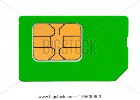 a place for an inscription on a green sim card for mobile phone
