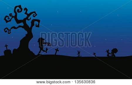 Halloween zombie in tomb silhouette with blue backgrounds