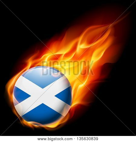 Flag of Scotland as round glossy icon burning in flame
