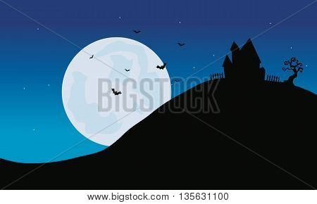 Silhouette of castle in hills Halloween with moon