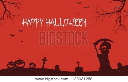 Warlock and pumpkins Halloween backgrounds scenery illustration