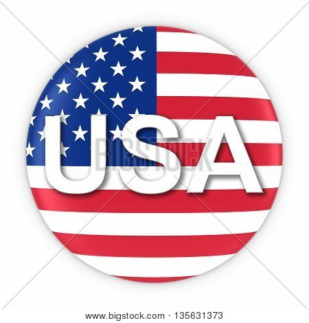 American Flag Button With Three Letter Country Iso Code 3D Illustration