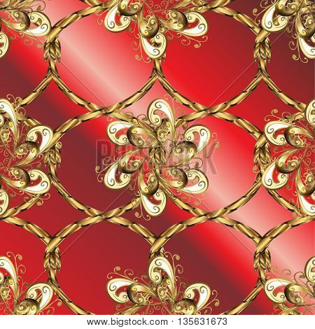 Vintage pattern on red gradient background with golden elements.