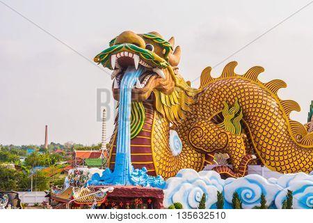Image Of Huge Dragon Statue For Background Usage.
