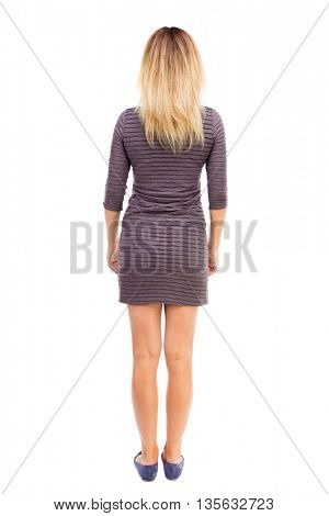 back view of standing young beautiful  woman.  girl  watching. Rear view people collection.  backside view of person.  Isolated over white background. The girl in the purple dress is posing.