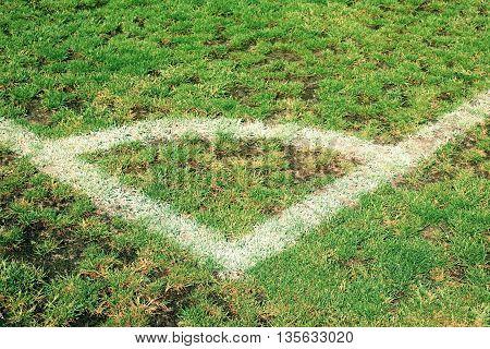 Corner Of Football Playground, Natural Grass