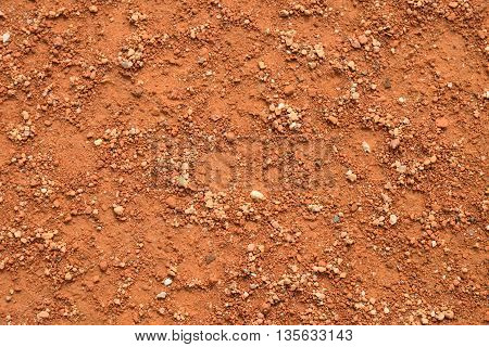 Dry Red Crushed Bricks Surface On Tennis Court