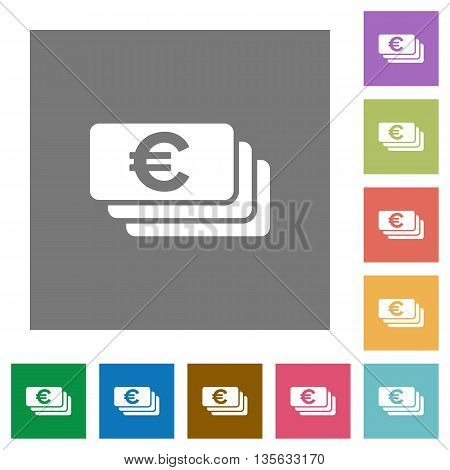 Euro banknotes flat icon set on color square background.