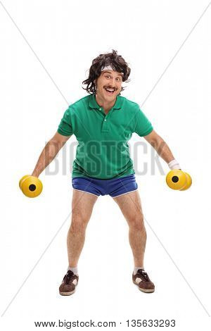 Full length portrait of a retro young guy exercising with two dumbbells isolated on white background