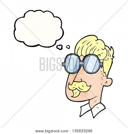 freehand drawn thought bubble textured cartoon man with mustache and spectacles
