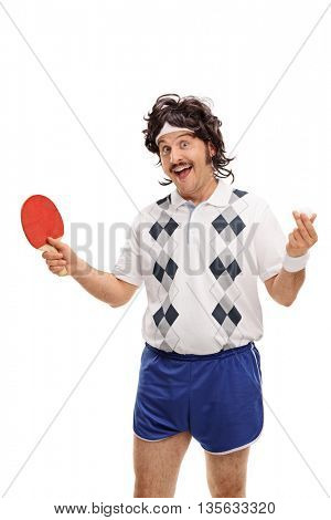 Vertical shot of a retro guy holding a table tennis bat and a ball isolated on white background