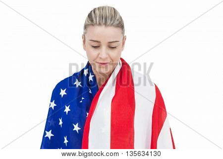 Female athlete with american flag on her shoulders on white background