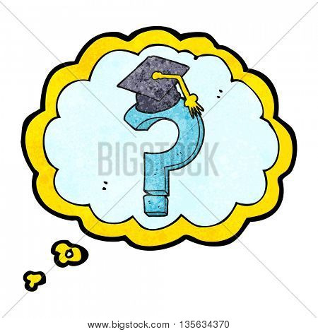freehand drawn thought bubble textured cartoon graduation cap on question mark