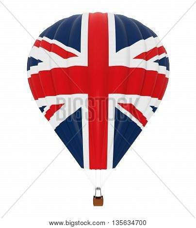 Hot Air Balloon with Flag of United Kingdom isolated on white background. 3D render