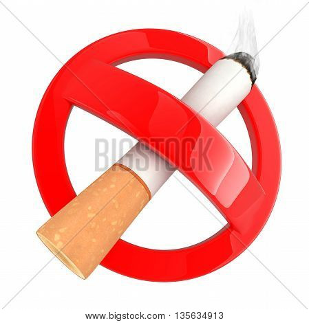 Sign no smoke on white background (done in 3d rendering)