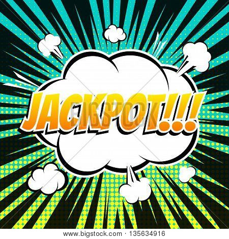 Jackpot comic book bubble text retro style