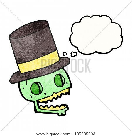 freehand drawn thought bubble textured cartoon laughing skull in top hat