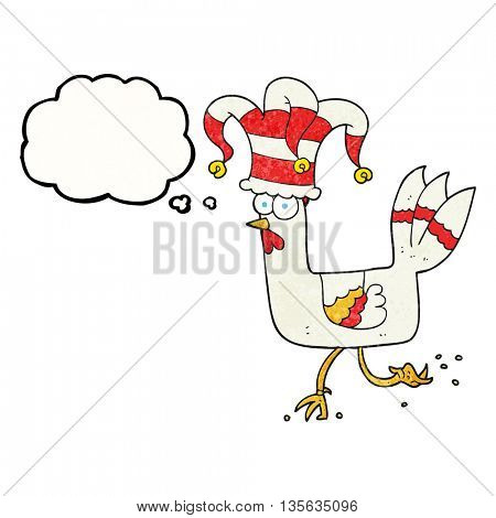 freehand drawn thought bubble textured cartoon chicken running in funny hat