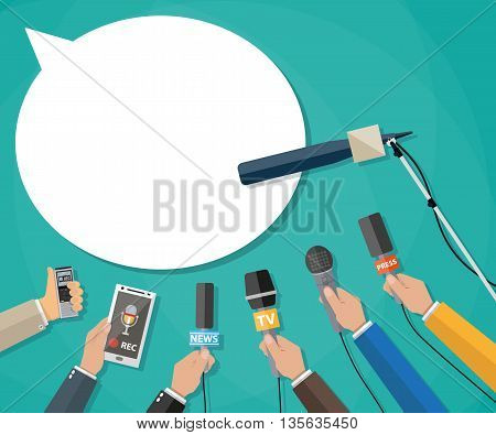 Few hands of journalists with microphones, tape recorder and smartphone. journalism, live report, hot news, television and radio casts. vector illustration flat style, green background speech bubble