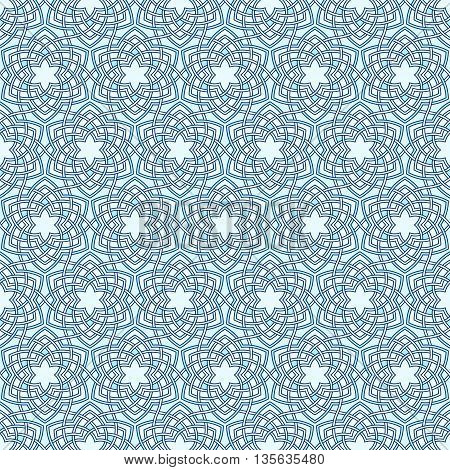 Arabesque floral pattern. Entwined flowers in arabic geometry style. Geometric flowers in seamless vector pattern. Pattern with abstract flowers in oriental arabesque style. Seamless vector background