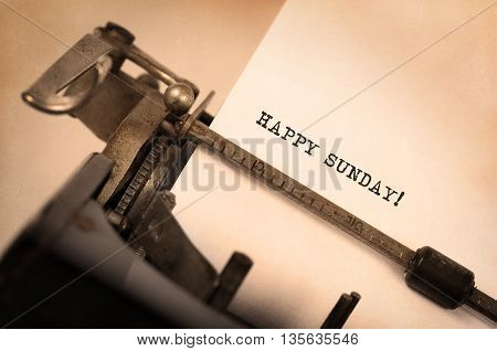 Vintage Typewriter Close-up - Happy Sunday
