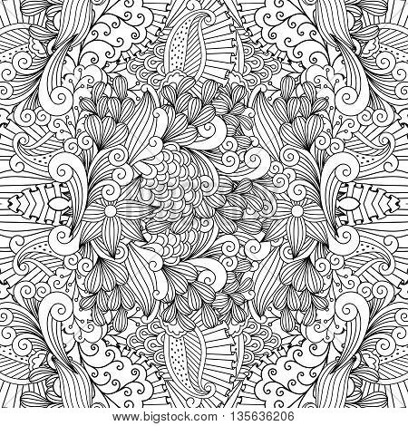 Pretty outlined design of seamless ornate textile pattern with interchanging flower and leaf type shaped objects