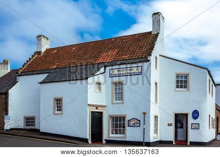 Anstruther Scotland - July 26 2012: Fife area the Scottish Fisheries Museum.