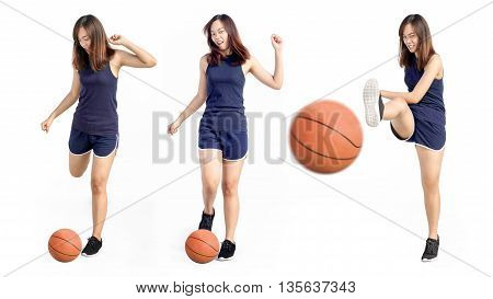 Asian Lady Exercise In Kick Action