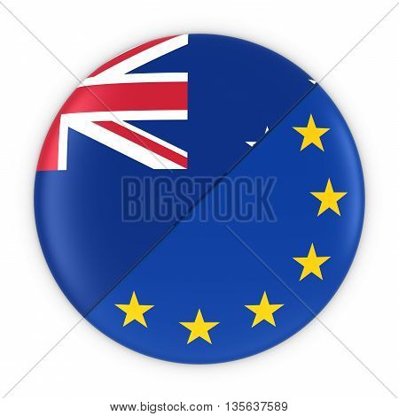 New Zealand And European Relations - Badge Flag Of New Zealand And Europe 3D Illustration