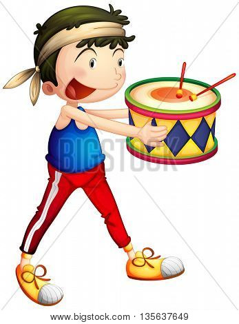 Happy man holding drum illustration