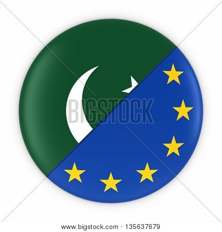 Pakistani And European Relations - Badge Flag Of Pakistan And Europe 3D Illustration