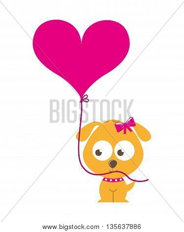 cute dog character with balloon air isolated icon design, vector illustration  graphic