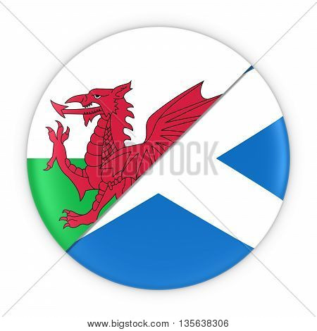 Welsh And Scottish Relations - Badge Flag Of Wales And Scotland 3D Illustration