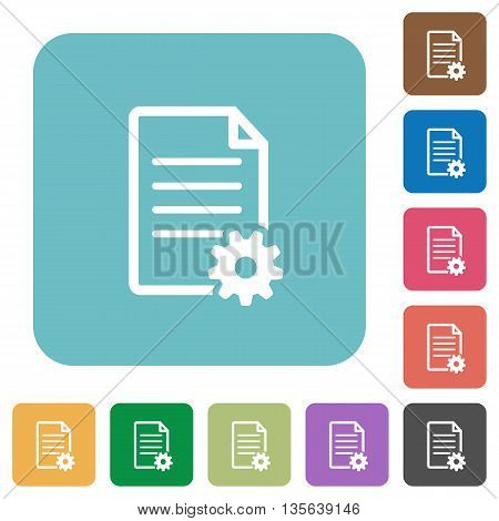 Flat document setup icons on rounded square color backgrounds.