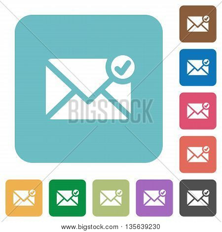 Flat mail sent icons on rounded square color backgrounds.