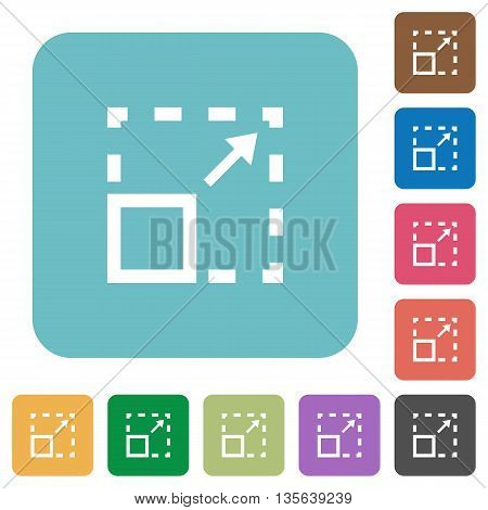 Flat maximize element icons on rounded square color backgrounds.