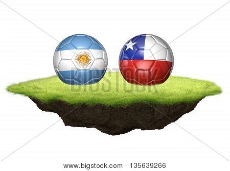 Argentina vs Chile team balls for football championship tournament, 3D rendering