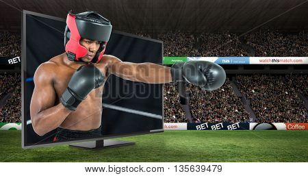 Boxer performing upright stance against digital image of a ring corner