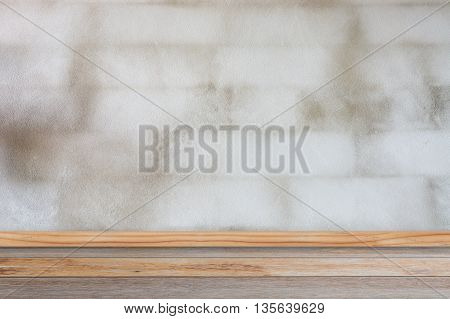 interior wood floor and old white wall vintage background