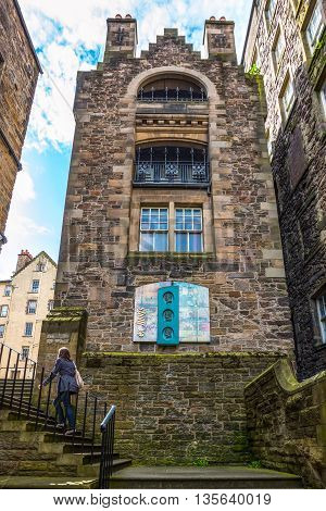 Edinburgh Scotland - July 28 2012: The Makars court of the Writers Museum.