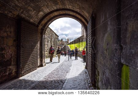 Edinburgh Scotland - July 28 2012: Visitors in the main entrance of the Edinburgh castle